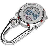 Aceshop Zegarek unisex, z karabińczykiem, cyfrowy zegarek na rękę, z kompasem, karabińczykiem i świecącym cyferblatem…