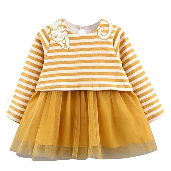 K-youth® Rayas Vestido de Princesa para Niña Ropa Bebé Niñas Traje de Ceremonia Vestido de Fiesta Bautizo Vestido Gatito Encaje Falda 2018 Barata: ...