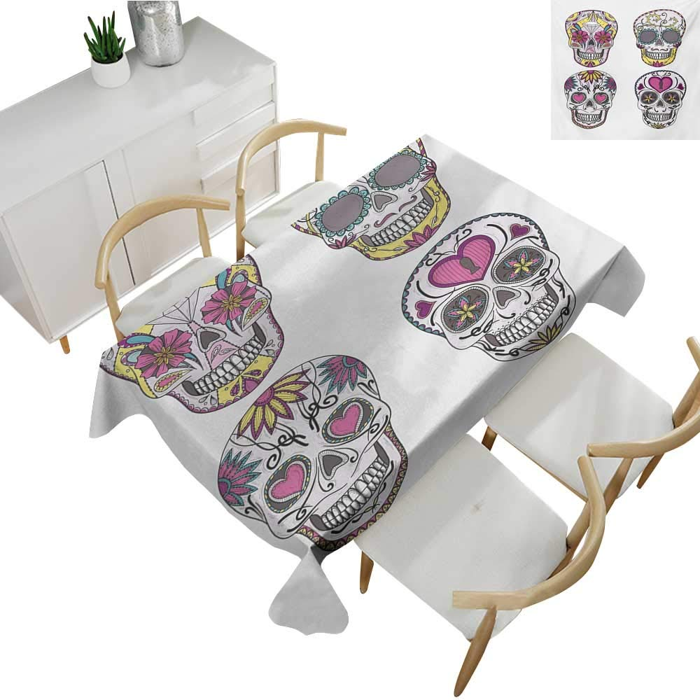 """homehot Sugar Skull,Fitted tablecloths,Mexican Style Traditional Sugar Skulls Set with Hearts Ornate Floral Motifs,Tablecloths for Sale 60""""x 102"""""""