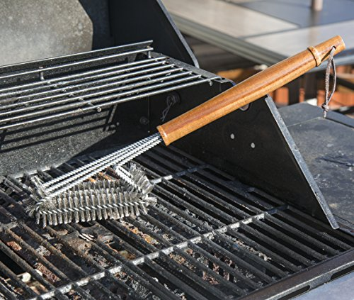 BBQ-Aid Grill Brush – Cleans All Angles, Extended, Large Wooden Handle and Stainless Steel Bristles – No Scratch Cleaning for Any Barbecue or Grill: Char Broil & Ceramic by BBQ-Aid (Image #4)
