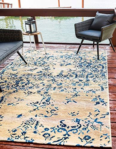 Unique Loom Outdoor Botanical Collection Over-Dyed Vintage Transitional Indoor and Outdoor Flatweave Beige /Blue  Area Rug (2' 2 x 3' 0)