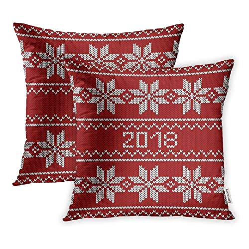 Pillowcase,Celebration Red Knitted Christmas Pattern Crochet Graphic Happy Holiday Knit Throw Pillow Covers Cover Set of 2 18 X 18inch Two Side Pillowcase Cases Case -