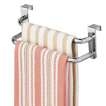 InterDesign Axis Toallero para paños de cocina, doble perchero para puerta en metal, toallero sin taladro con dos barras, plateado