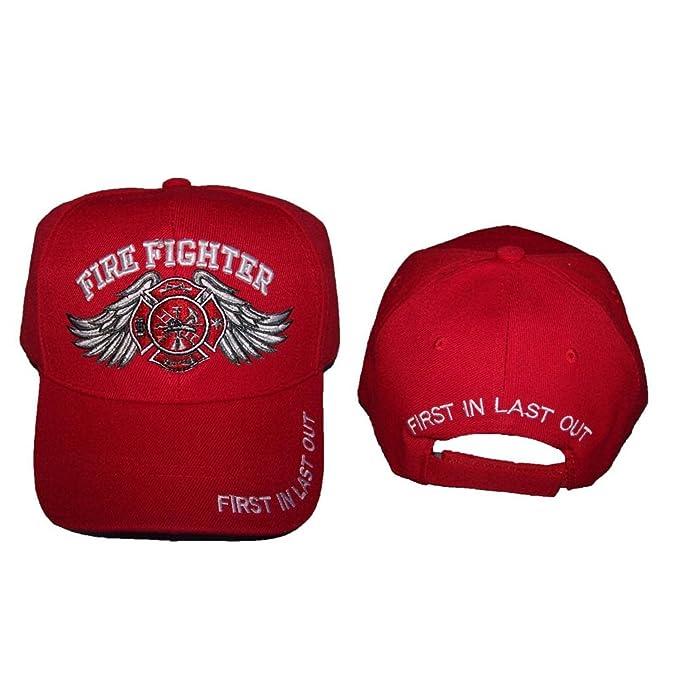 Fireman Fire Fighter Fire Department Embroidered Baseball Caps Hats ... a76efab45731