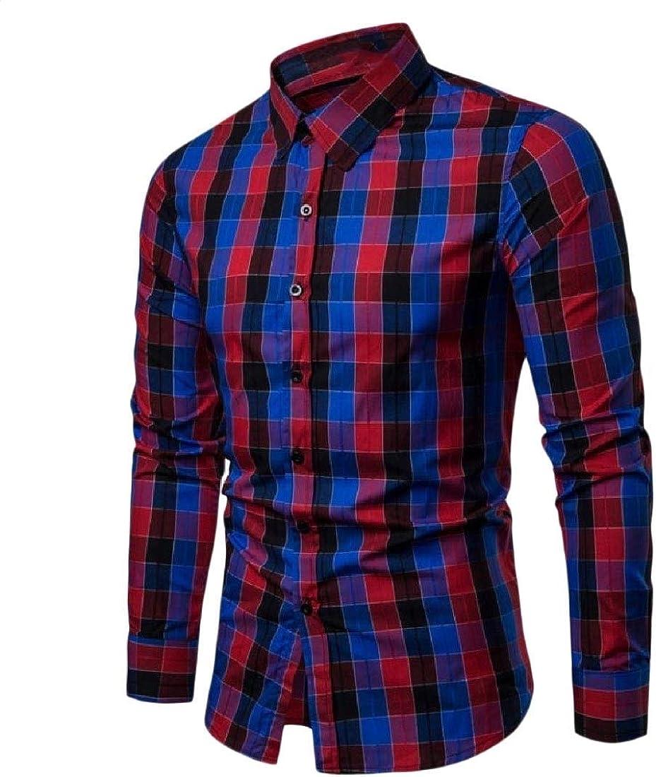 Zimaes-Men Tops Jacket Windowpane Casual Slim-fit Non-Iron Sport Shirt