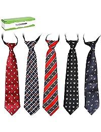 Bundle Monster 5 pc Boys Mixed Pattern Pre-Tied Elastic Fashion Neckties - Set 2