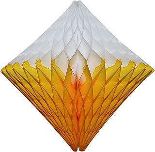 product image for Large 12 Inch Hanging Honeycomb Diamond Decoration, Set of 3 (Gold/White)