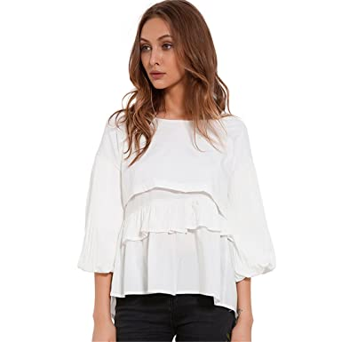 Xuefangshangyi Casual Loose Blouses ForWomen Womens Clothing Pleated Lantern Sleeve Chiffon Blouse White