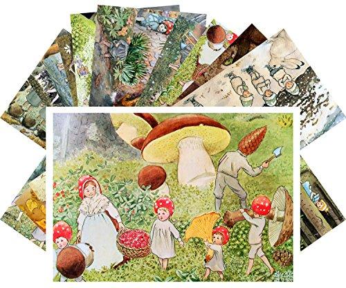 Postcard Set 24pcs Small Forest People by Elsa Beskow Vintage Kids Book Illustration Art