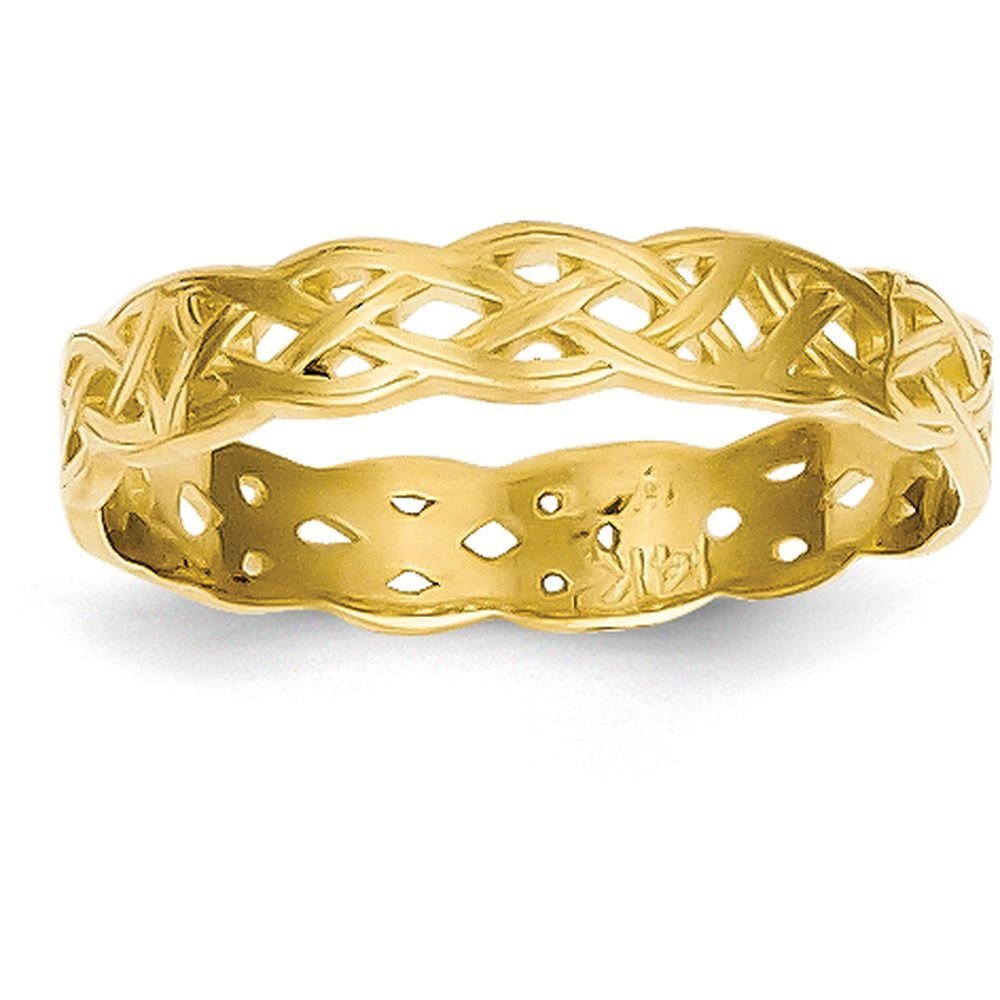 14k Yellow Gold Polished Celtic Knot Band (3mm Width) - Size 7