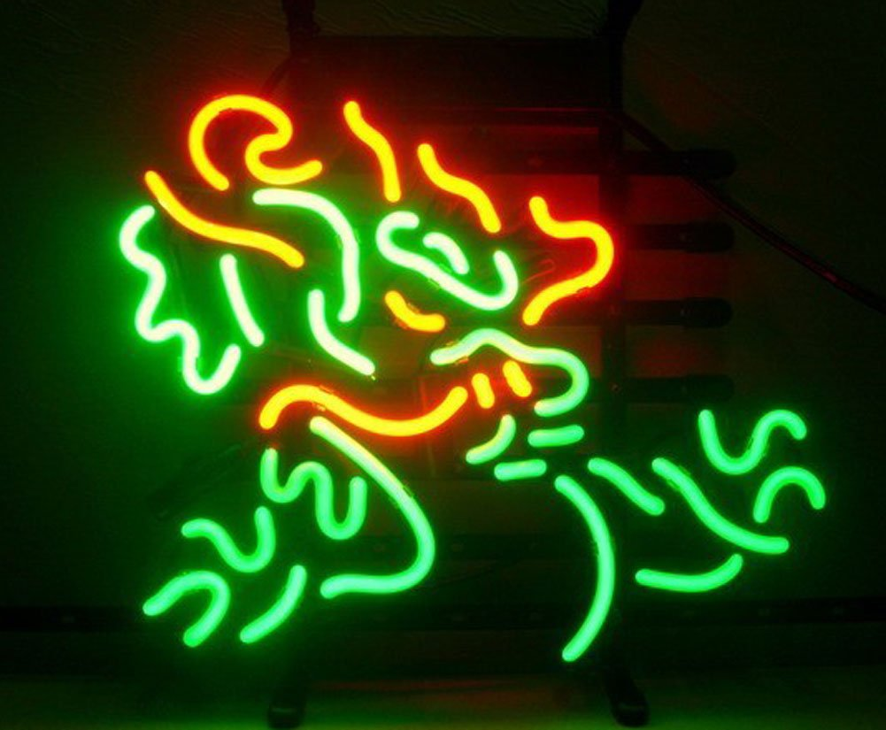 Cozyle Glass Bright Neon Light Chinese Dragon Kirin Neon Sign 17''x14'' Real for Mancave Beer Bar Pub Garage Room