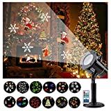 Yehard Christmas Lights, Waterproof Landscape Projector 12 kinds of patterns Outdoor Light for Christmas Decoration,Halloween,Birthday,Weeding,Party,Garden (black)
