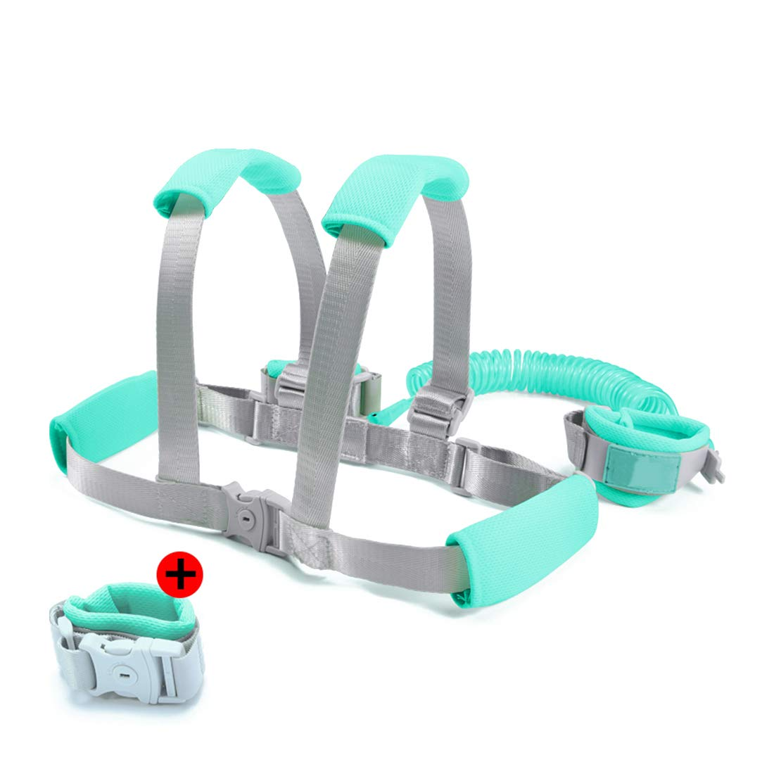 Toddler Leash- Baby Harness and Reins Anti Lost Wrist Link, Child Leash with Breathable Wristbands and Cushion(4.9ft/8.2ft) Toddler Harness Safety Leashes,Green,2.5m