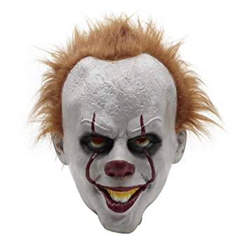SYWAN Máscara de Halloween Payaso Clásico Película de Miedo Cosplay Cabeza Llena con Cabello para niños Adultos Vestirse Fiesta Carnaval Navidad Pascua: ...