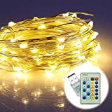Led String Lights ,Ougilay 33Ft 100 LED Waterproof Warm White Copper Wire Starry light for Indoors and Outdoors