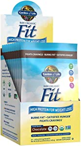 Garden of Life Raw Organic Fit Powder, Chocolate - High Protein for Weight Loss (28g) plus Fiber & Probiotics, Organic & Non-GMO Vegan Nutritional Shake, Packets (10 Count Tray)