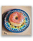 Polish Pottery Pink Donut Art Print from Still Life Painting for Kitchen Wall Decor size mat options