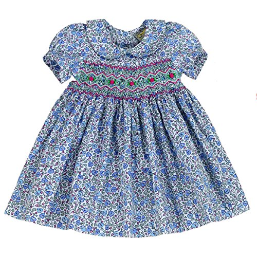 sissymini - Infant and Toddlers Soft, Light and Airy Cotton Hand Smocked Dresses | Tessa Talbot's Tulips in Cornflower Blue ()