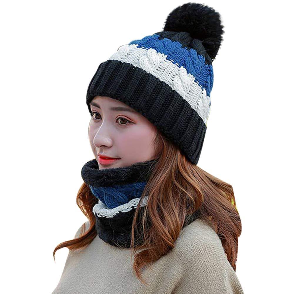 BSGSH Winter Beanie Hat Scarf Set Warm Knit Hat Pom Pom Skull Cap for Men Women (Black)