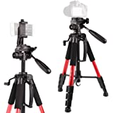 """POLAM-FOTO 55""""/140cm Camera Tripod,Compact Tripod with Bubble Level,Lightweight Tripod with Phone Holder and Carry Bag Included-Red"""