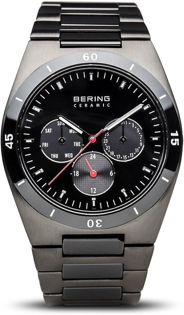 Bering  Ceramic - Reloj de cuarzo para hombre, con correa de cerámica, color gris antracita/negro