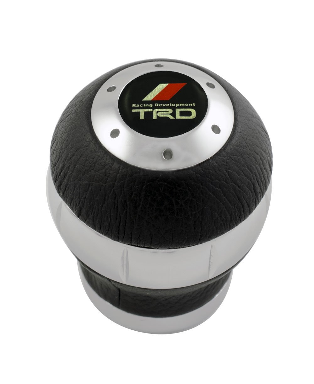 12x1.25mm Threaded TRD BLACK LEATHER and SILVER Billet Aluminum ROUND Ball Shift knob for Toyota Racing Development Camry Celica Corolla Scion xA xB tC Supra MR2 Matrix Paseo Echo Venza Yaris Avalon Solara Spyder Tercel Tiara 2000GT Tacoma Tundra 1970's TA