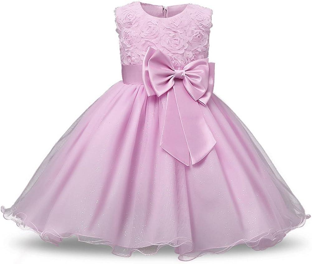 OBEEII Little Girl 3D Flower Short Tutu Dress Princess Wedding Dance Evening