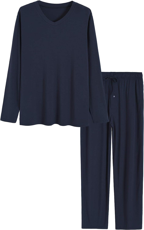 Latuza Men's Bamboo Viscose Long Sleeves Shirt Pajamas Pants Lounge Set