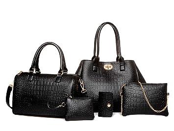 TIBES Sac à main de luxe en cuir PU de mode Sac à main en sac bandoulière Card Holder 5pcs Set Purse pour femmesfillesfemmes Noir