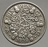1928 UK Great Britain United Kingdom KING GEORGE V AR SIXPENCE Coin i56868