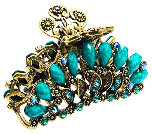 Fashion & Lifestyle Large Metal Alloy Hair Claw Jaw Clip for Women and Girls - Pretty Strong Clamp Non-Slip Barrette Hair Updo Grip Bath Accessories for Thick Hair, Malachite Green