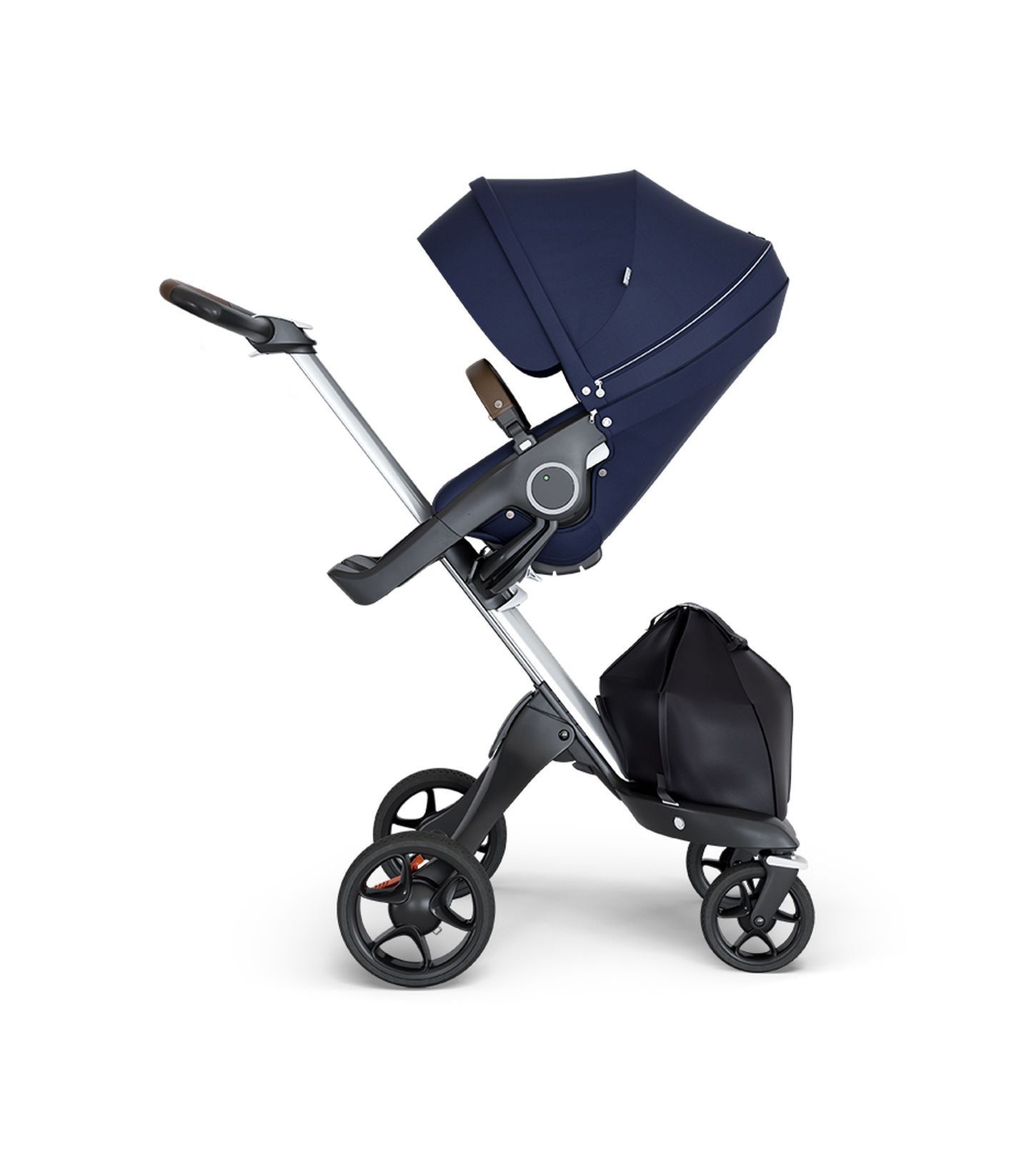 Stokke Xplory V6 Silver Chassis Stroller with Brown Leatherette Handle, Deep Blue by Stokke