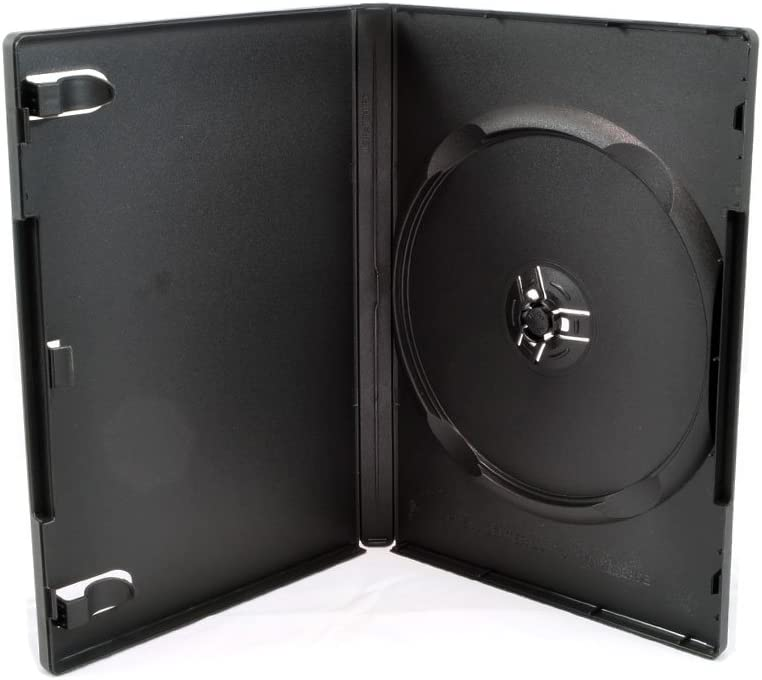 100 Pack Maxtek Standard 14mm Black Signle Disc DVD Cases with Outer Clear Sleeve, Machine Pack Grade, 100% New Plastic Material!