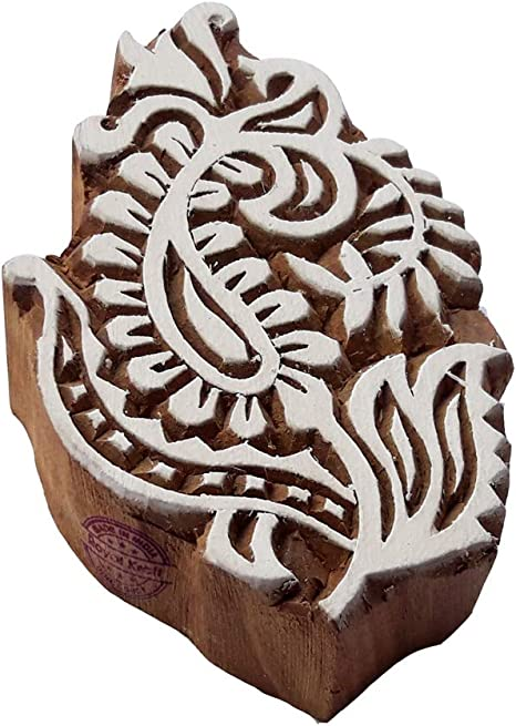 Henna Printing Blocks Flower Border Shapes Wood Stamps DIY Henna Fabric Textile Paper Clay Pottery Block Printing Stamp
