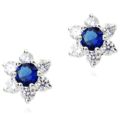 Round Stud Earrings with Blue Simulated Sapphire Zirconia Crystals 18 ct White Gold Plated for Women NQQse0