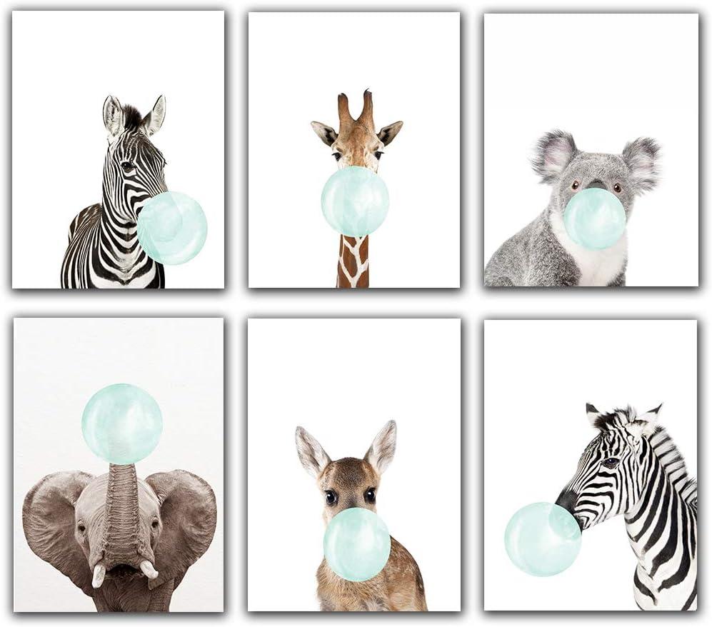 Safari Blue Bubblegum Baby Animal Zebra Giraffe Elephant,Deer,Koala Nursery Decor Art - Set of 6 (UNFRAMED) Wall Prints 8x10 (Blue) Children Boy Room Bathroom Décor