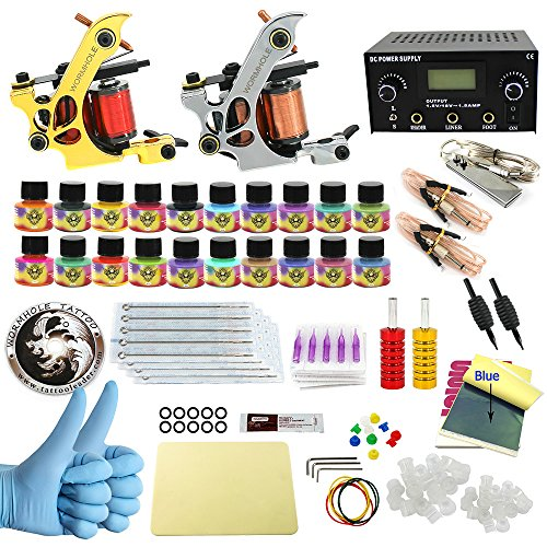 Wormhole Complete Tattoo Kit for Beginners Dual Tattoo Power Supply Kit 20 Tattoo Needles 20 Tattoo Inks 2 Pro Tattoo Machine Kit Tattoo Supplies CD004