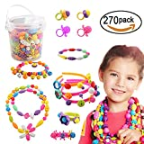 SOTOGO 270 Pieces Snap Beads Pop Beads Art Crafts For DIY Jewelry Making Set Toys -Hair Clasp,Necklace, Bracelet and Ring.Best Toys Gift for girls.