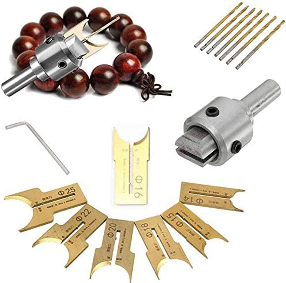 9 ST/ÜCKE Holzperlenmacher Premium Perlen Bohrer Fr/äser Set Holzbearbeitung Tool Kit f/ür Holzperlen