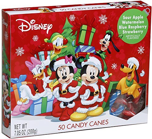 2018 Disney Mickey Mouse Fruit Flavored Mini Christmas Candy Canes, Pack of 50, 7.05 oz