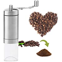 Manual Coffee Grinder With PROFESSIONAL GRADE Conical Ceramic Burr Mill. Brushed Stainless Steel BUILT TO LAST Makes Hand Ground Coffee Beans TASTE BEST. This QUIET, PORTABLE, and EASY TO CLEAN Grinder is PERFECT for Home, Travel, or Camping.