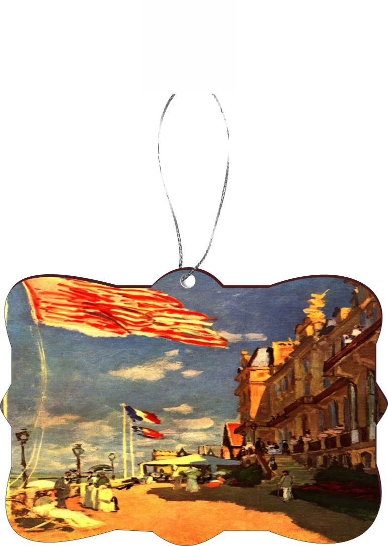 Rikki Knight RKWS-SQORN-3613 Christmas Tree Ornament / Car Rear View Mirror Hanger Claude Monet Art The Hotel of Roches Noires Design