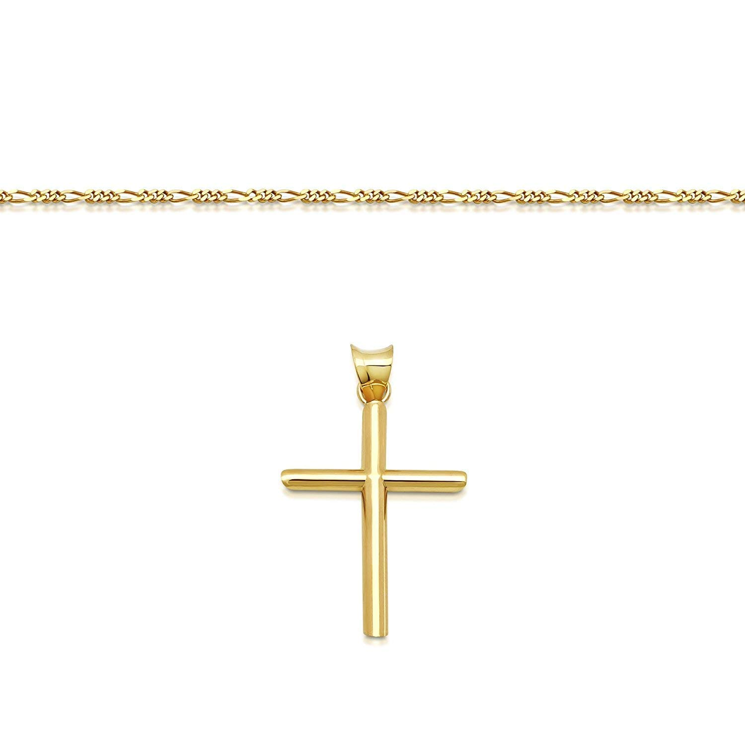 "DAYA Empire 14K Gold Figaro Chain Style Cross Pendant Necklace Solid Clasp for Men,Women,Teens,Children Thin for Charms Choose Length 18"" or 22'' Miami Cuban Link Diamond Cut (20) by DAYA Empire (Image #2)"