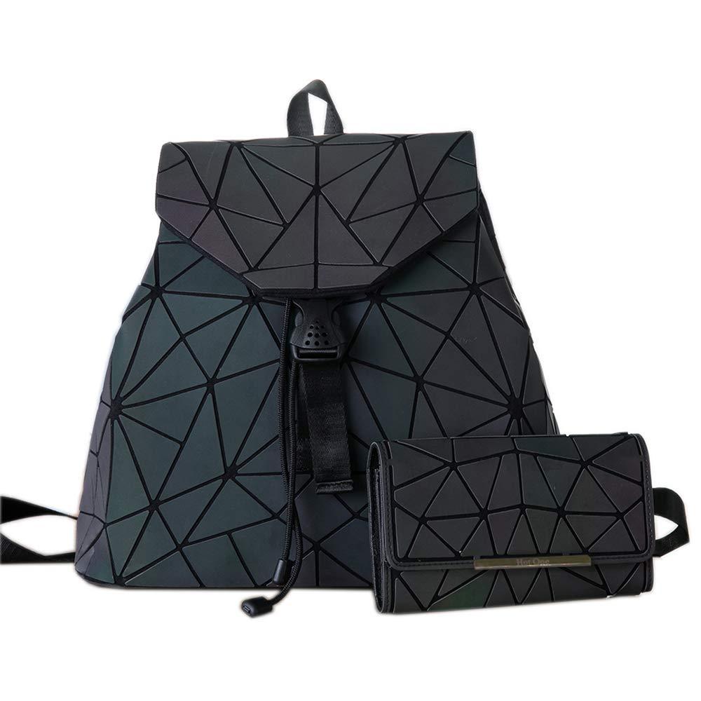 HotOne Geometric Backpack Holographic Reflective Backpacks Fashion Backpack (NO.2 + Wallet)