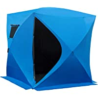 Outsunny 2-4 Person Portable Pop-up Ice Fishing Tent Ice Shelter with Ventilation Windows and Carrying Bag Hub Fish…