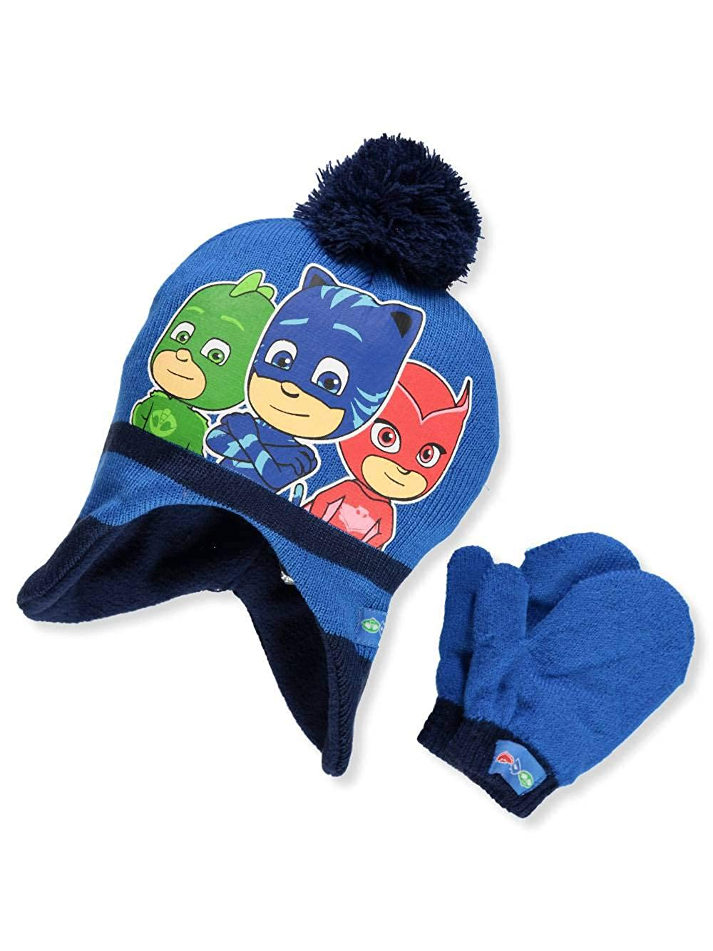PJ Masks Big Boys' Beanie & Mittens Set - dark blue, one size