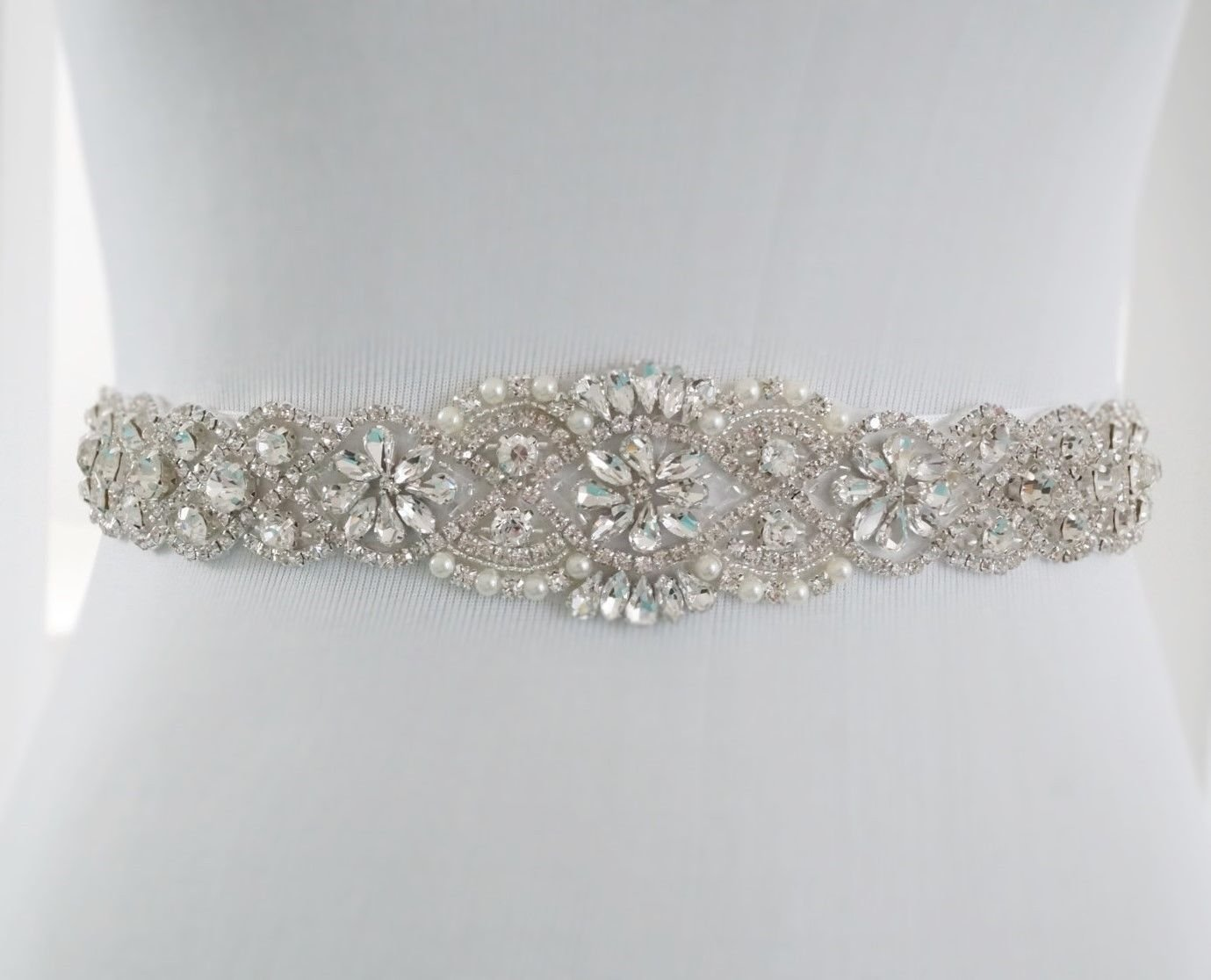 ShiDianYi Crystal Pearl Wedding Bridal Dress Sash Belt = 17 1/2'' Long
