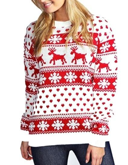 Janisramone New Womens Christmas Reindeer Snowflake Novelty Fairisle