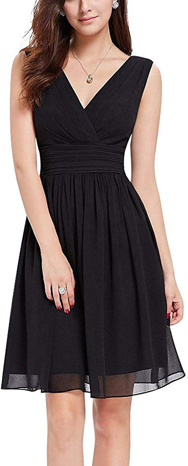 Small-shop-UK fashionable dress for women Jupe Longue plissée Filles Double Encolure en V froncé Longe Cocktail Courte Get-Togetherwomen Jupe -Plage Robe Plus Size Bleu