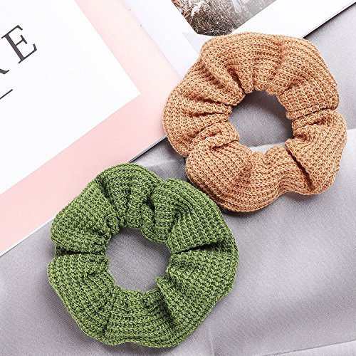 Whaline 12 Colors Hair Scrunchies Knit Elastic Hair Bobbles Hair Scrunchy Soft Ponytail Holder Hair Bands for Kids Adults by Whaline (Image #2)